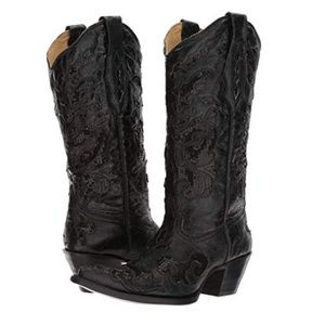 Corral Black Boots with inlay sequin detail